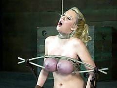 Courtney Taylor and her HUGE tits endure a  of rough deep throating